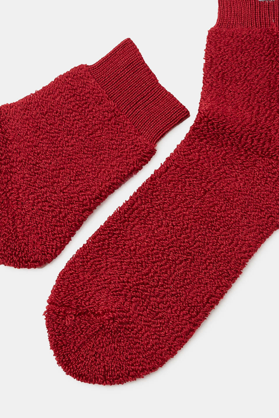 With wool: terrycloth socks with a soft texture, RUBY, detail image number 1