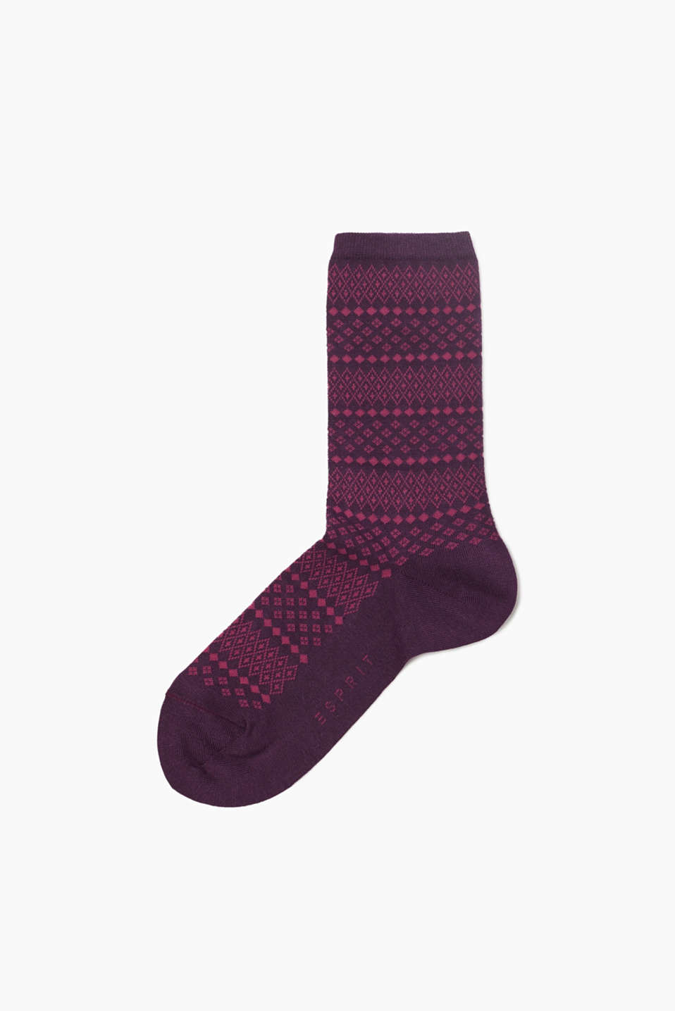 Socks with a Scandinavian pattern, made of a soft and stretchy cotton blend