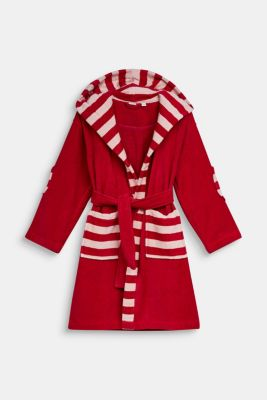 Children's bathrobe in 100% cotton, RASPBERRY, detail