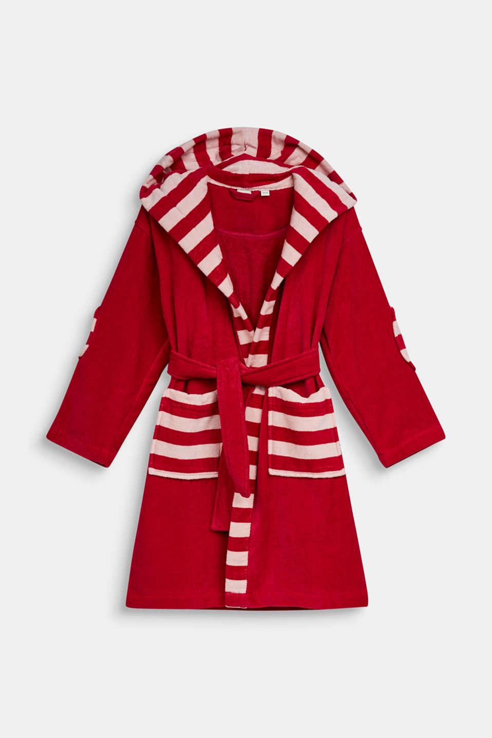 Children's bathrobe in 100% cotton, RASPBERRY, detail image number 0