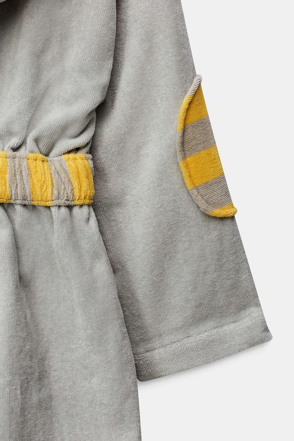 Children's bathrobe in 100% cotton, STONE, detail image number 3
