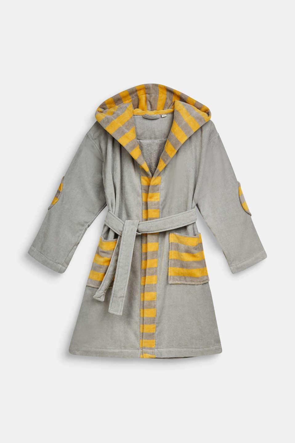 Children's bathrobe in 100% cotton, STONE, detail image number 0
