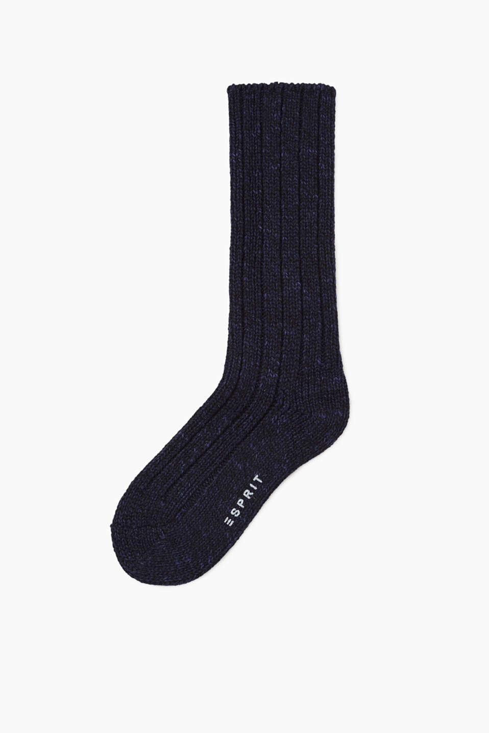 Ribbed knitted socks in a new wool blend, BLACK-MIX, detail image number 0