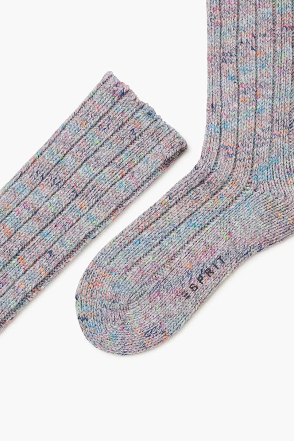Ribbed knitted socks in a new wool blend, LIGHT GREY, detail image number 1