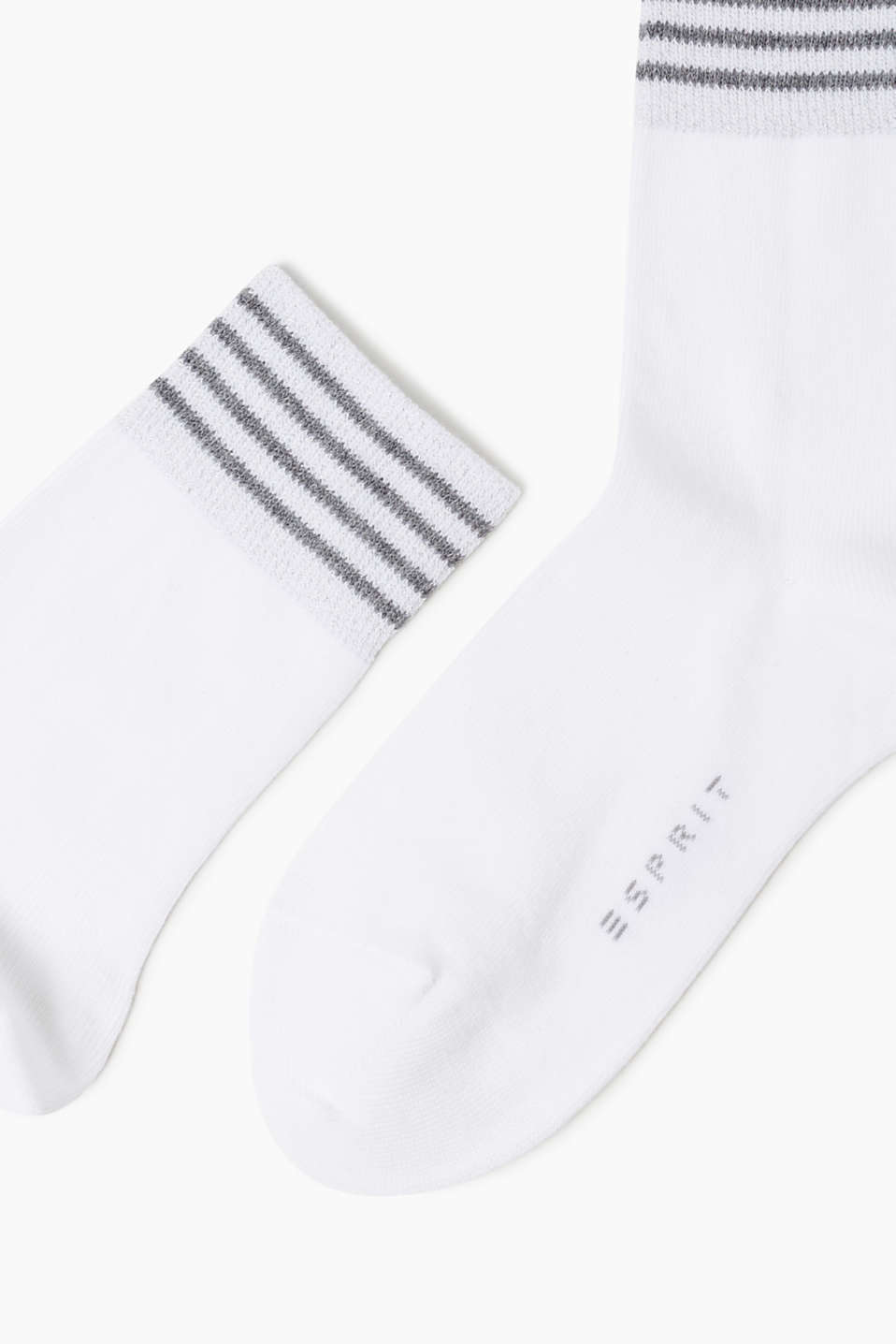 Tennis socks with lurex cuffs