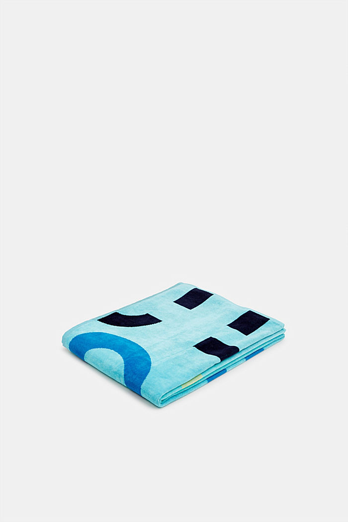 Towel with intarsia logos, 100% cotton, OCEAN BLUE, detail image number 0