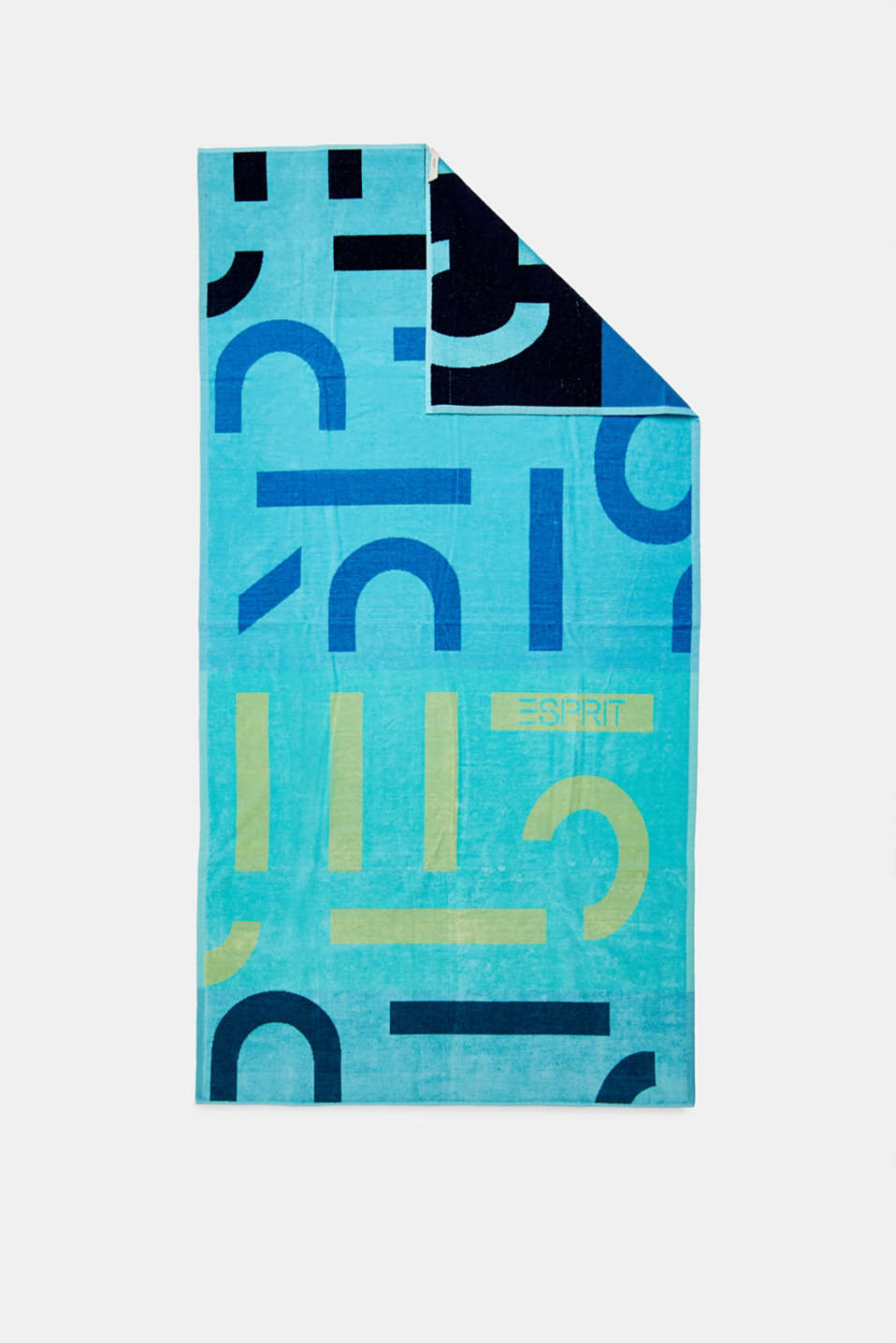 Beach towel with intarsia logos, 100% cotton, OCEAN BLUE, detail image number 2