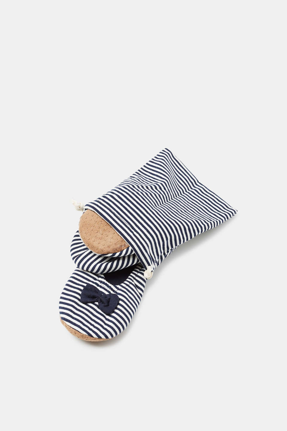 Slipper socks with stripes and bows