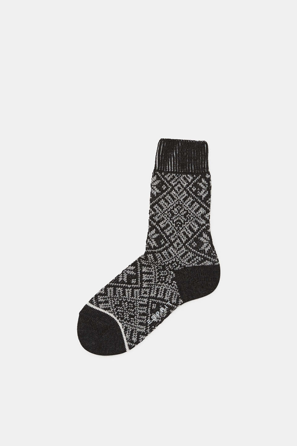 Wool blend: boot socks with a Norwegian pattern, ANTHRACITE MELANGE, detail image number 0