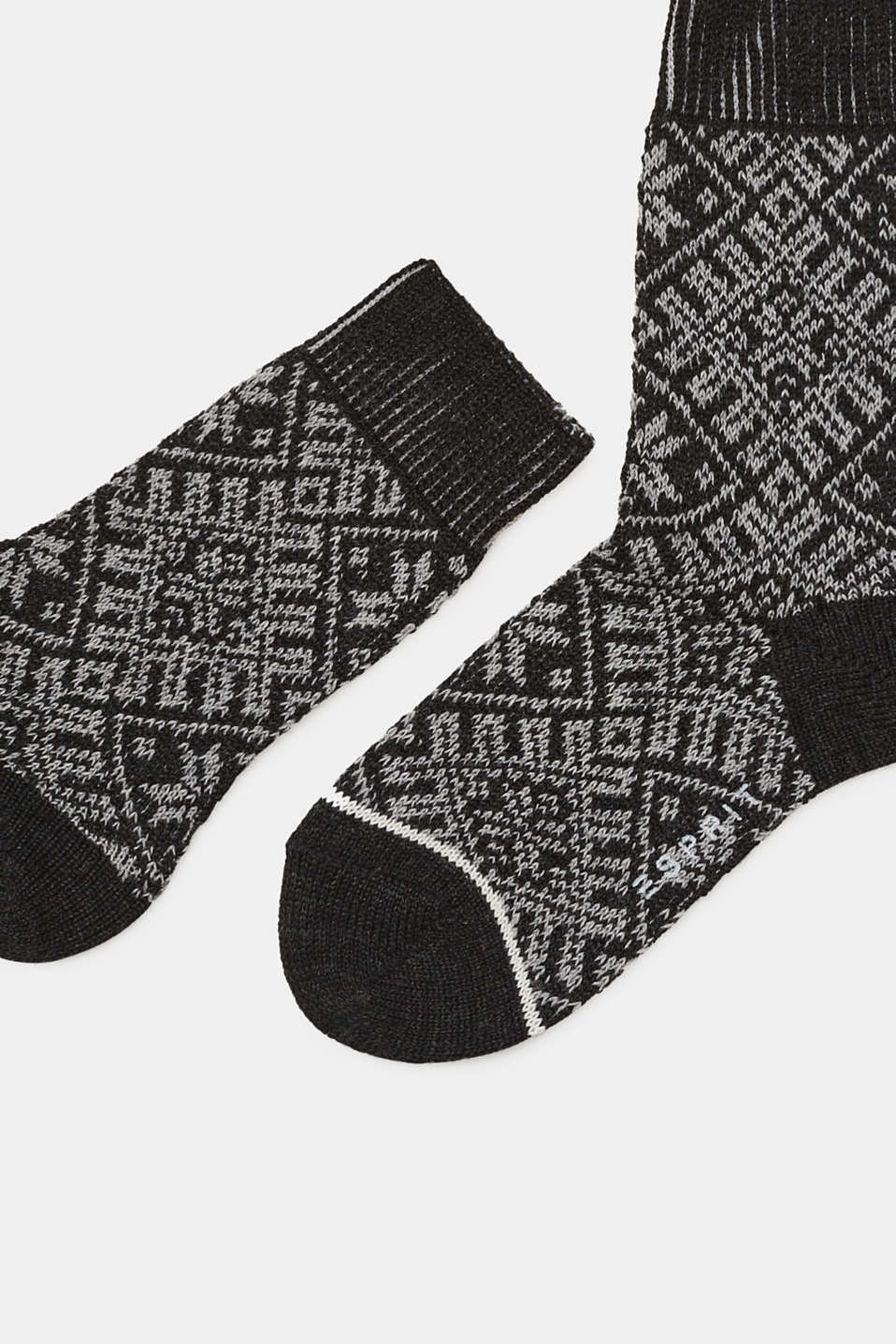 Wool blend: boot socks with a Norwegian pattern, ANTHRACITE MELANGE, detail image number 1