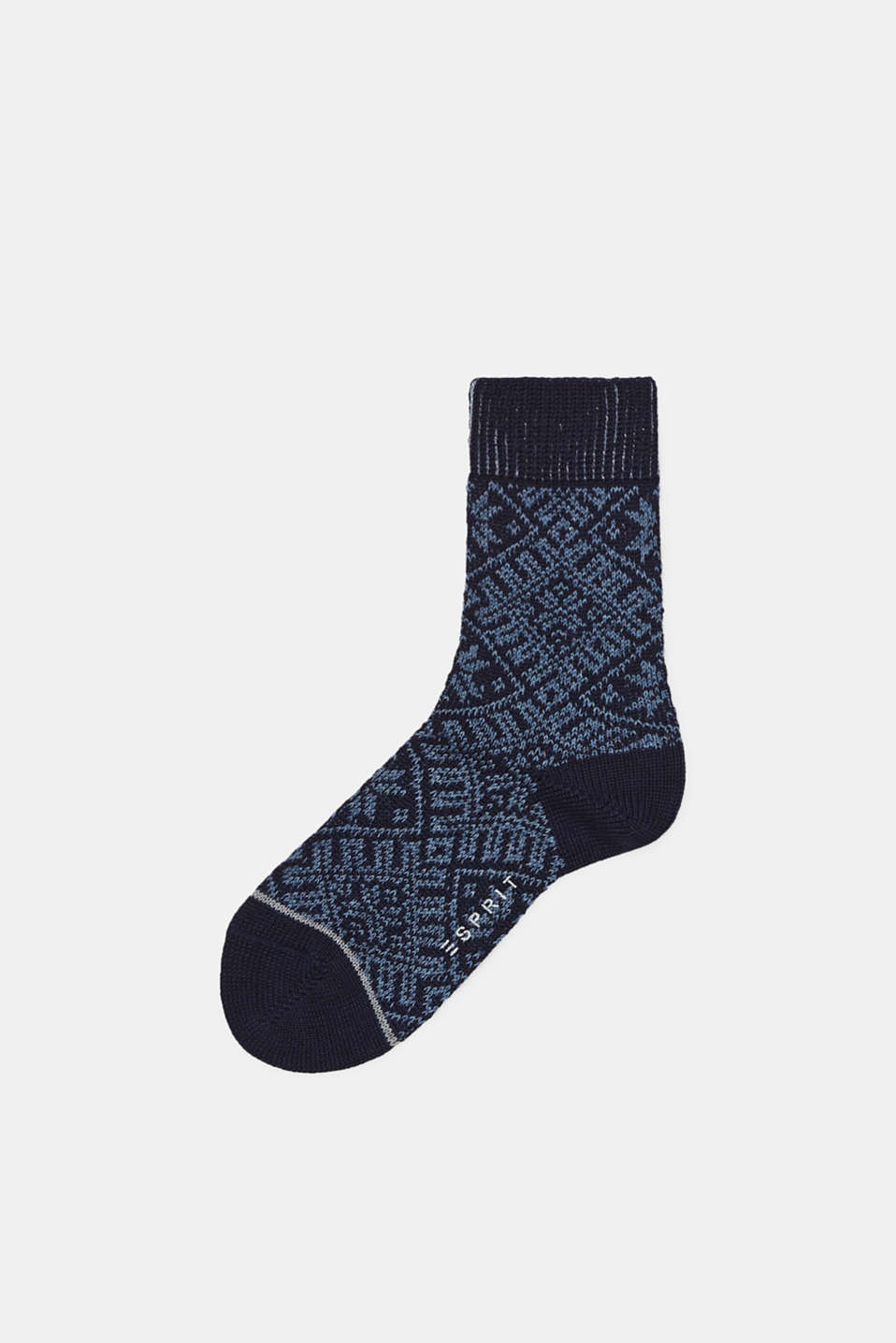 Esprit - Wool blend: boot socks with a Norwegian pattern