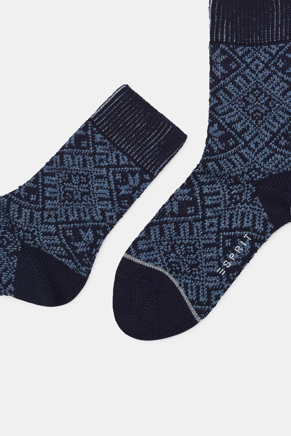 Wool blend: boot socks with a Norwegian pattern