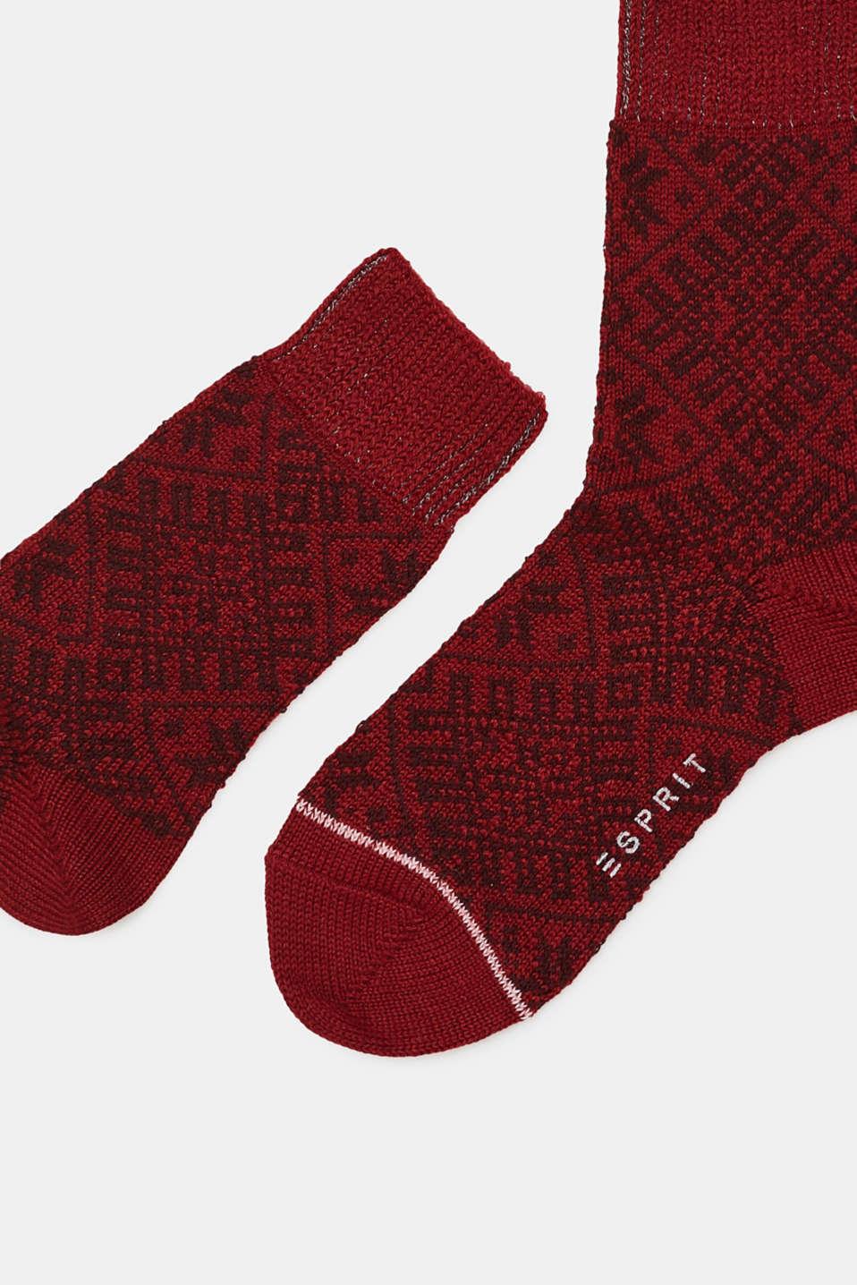 Wool blend: boot socks with a Norwegian pattern, BORGOGNA, detail image number 1