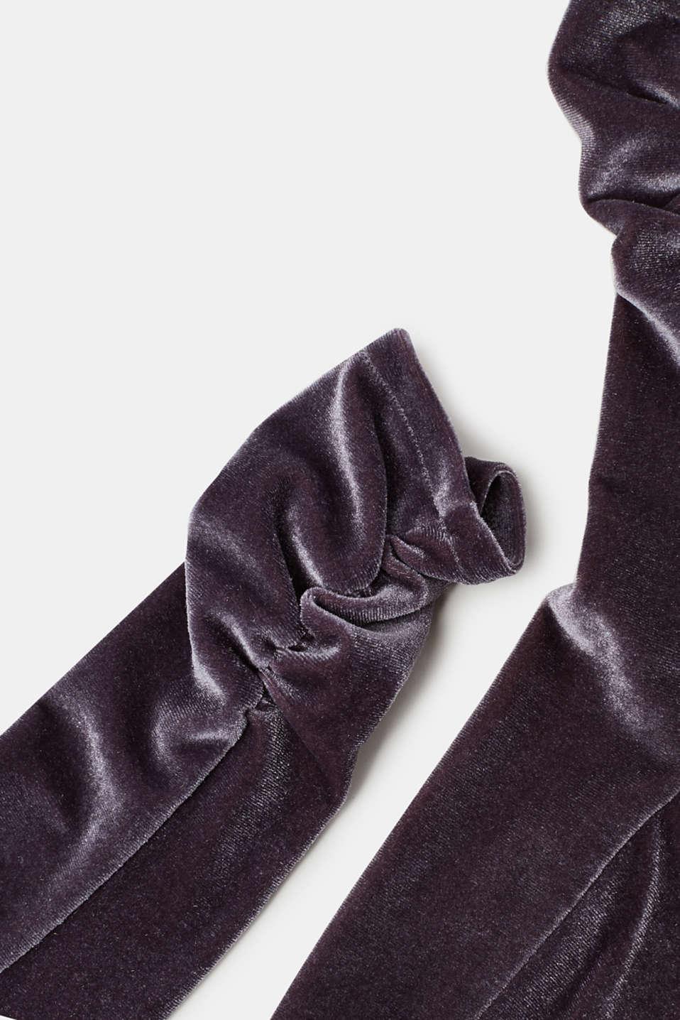 Gathered socks in stretchy velvet, STONE, detail image number 2