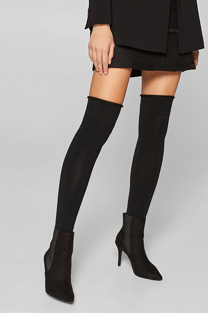With wool: over-the-knee with stretch for comfort, BLACK, detail image number 1