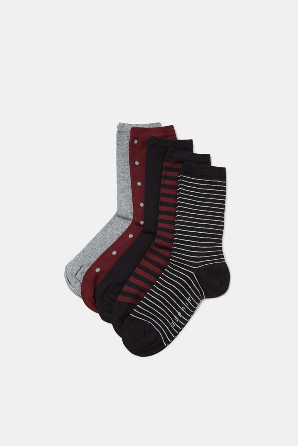 Whether plain coloured or with polka dots and stripes, this 5-pair pack of socks contains all our favourite patterns.