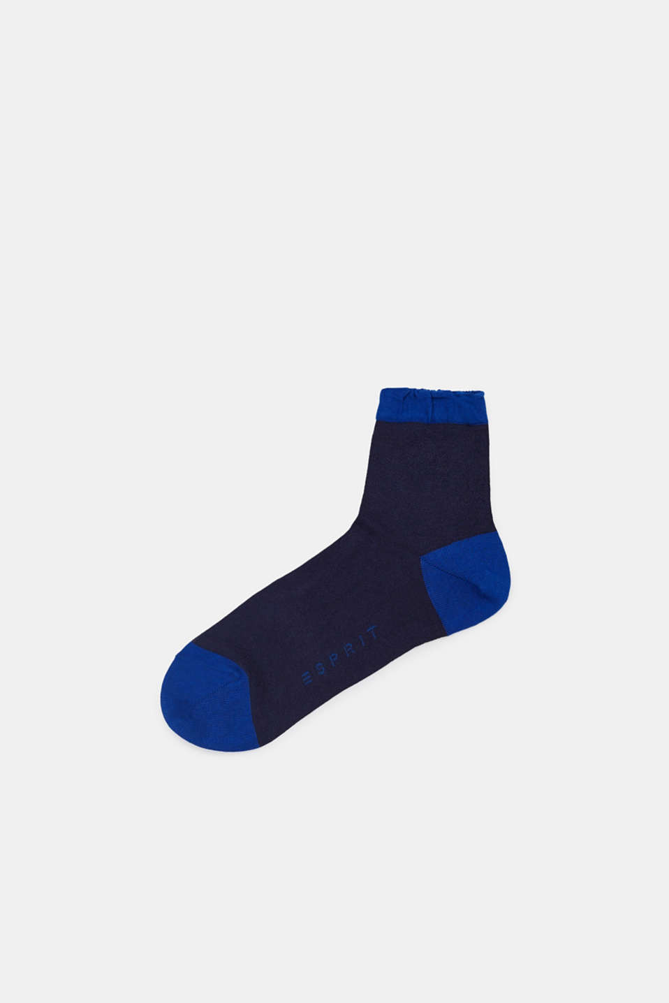 Semi-sheer socks with frilled hems, MARINE, detail image number 0