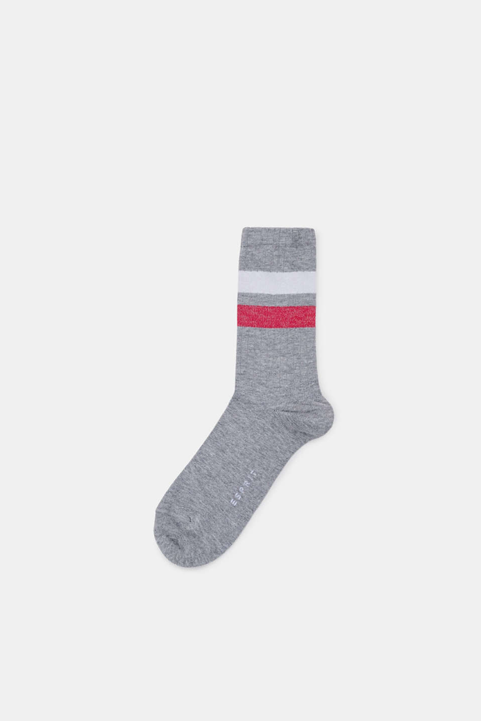 Socks with glittery stripes, LIGHT GREY, detail image number 0