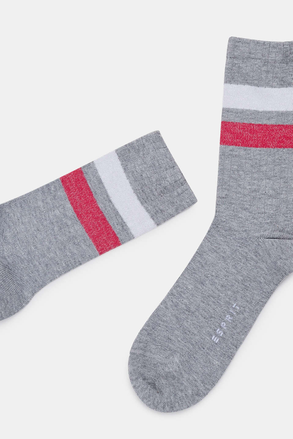Socks with glittery stripes, LIGHT GREY, detail image number 1