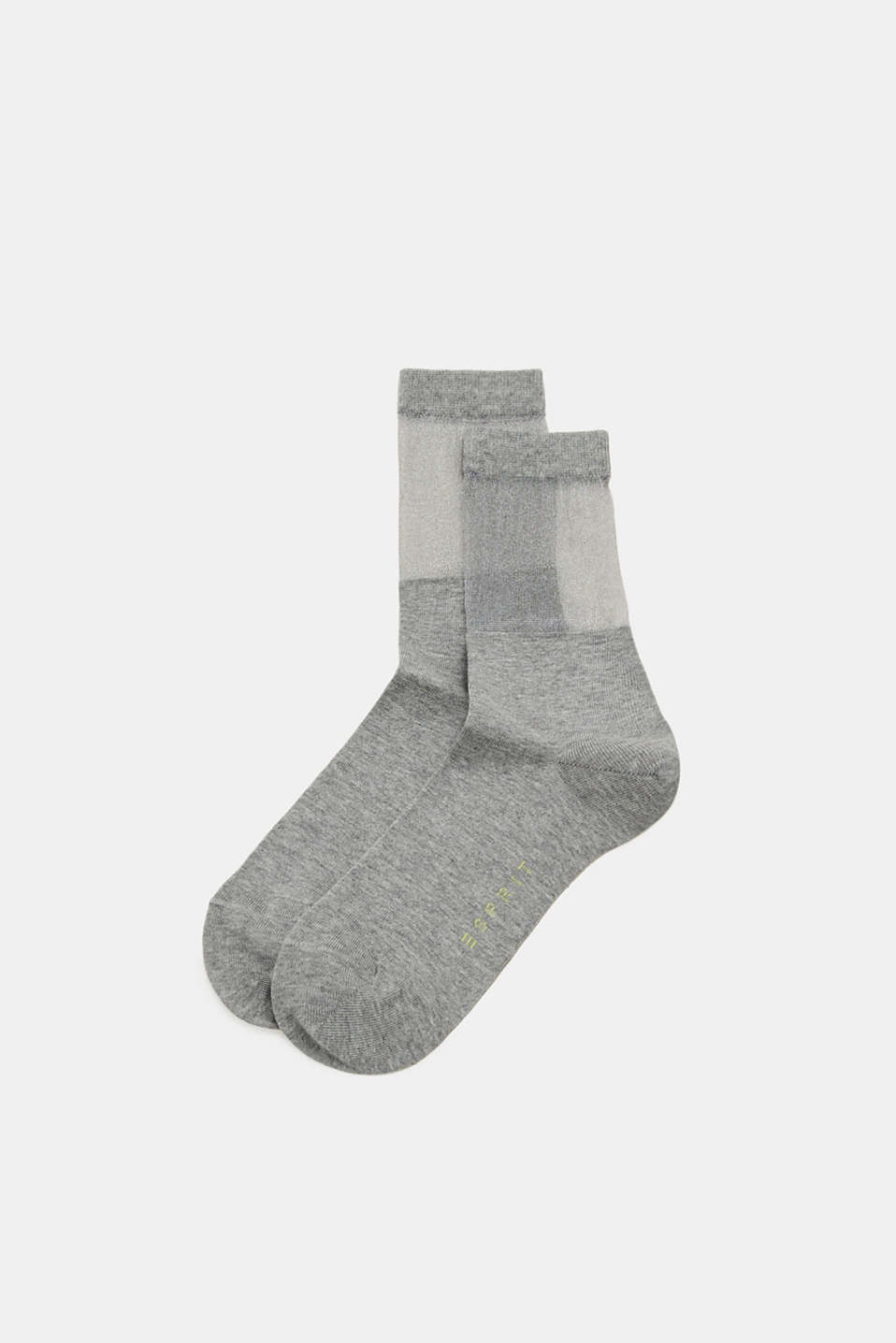 Socks with a semi-sheer shaft, LIGHT GREY, detail image number 0