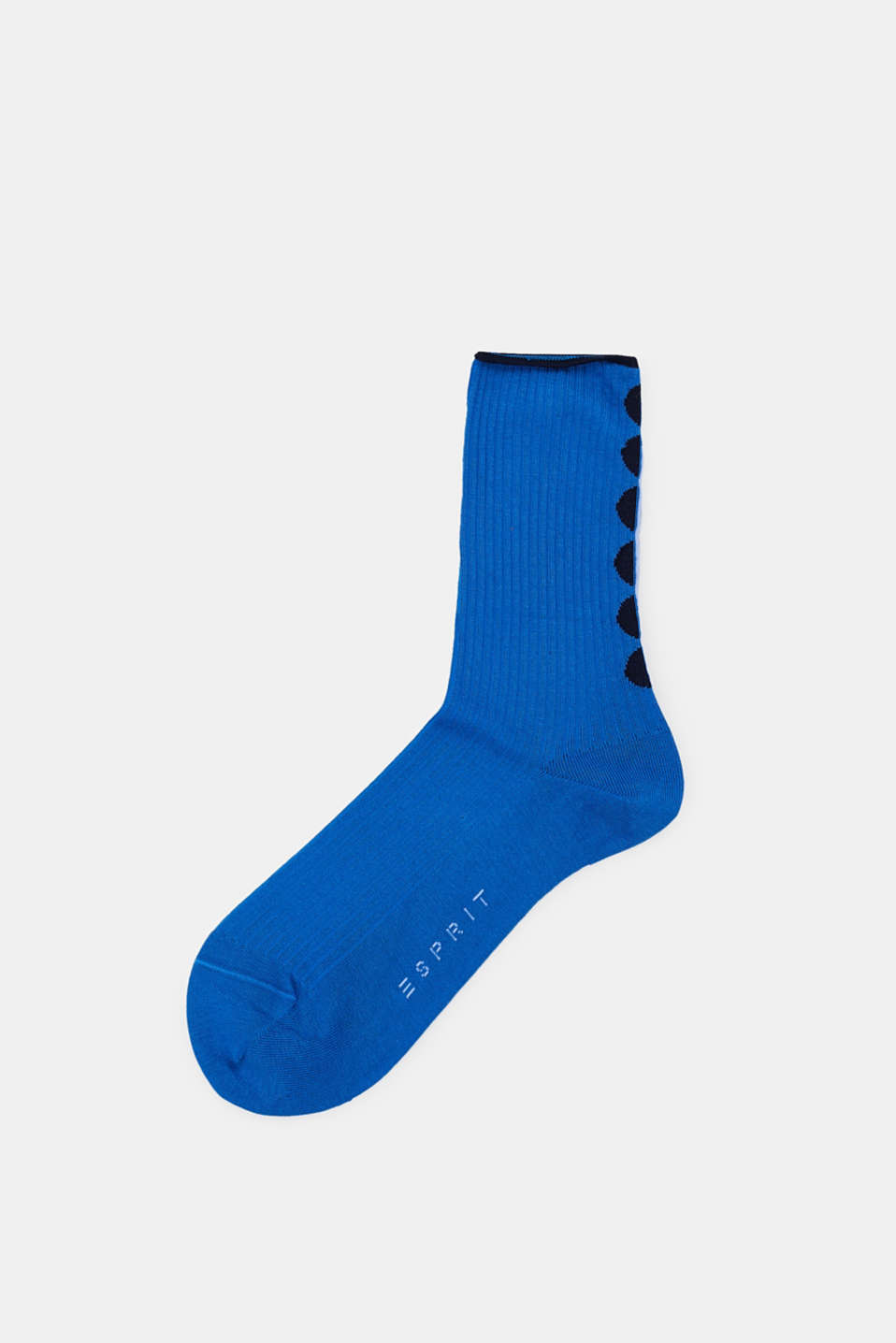 Socks with polka dots, in blended cotton, SEA BLUE, detail image number 0