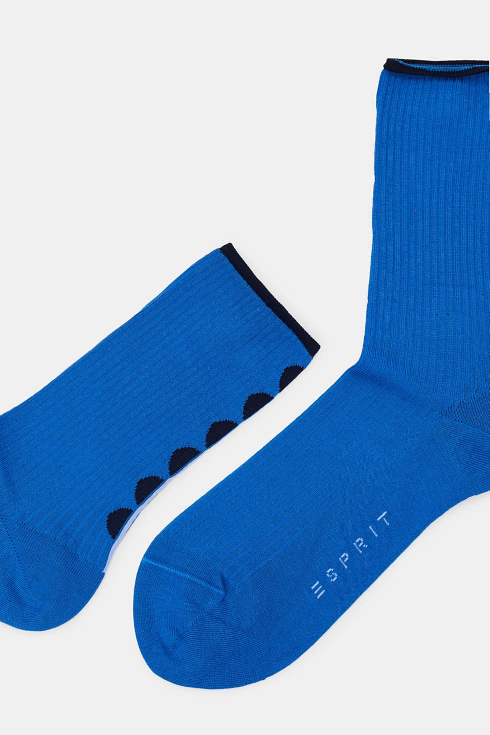 Socks with polka dots, in blended cotton, SEA BLUE, detail image number 1
