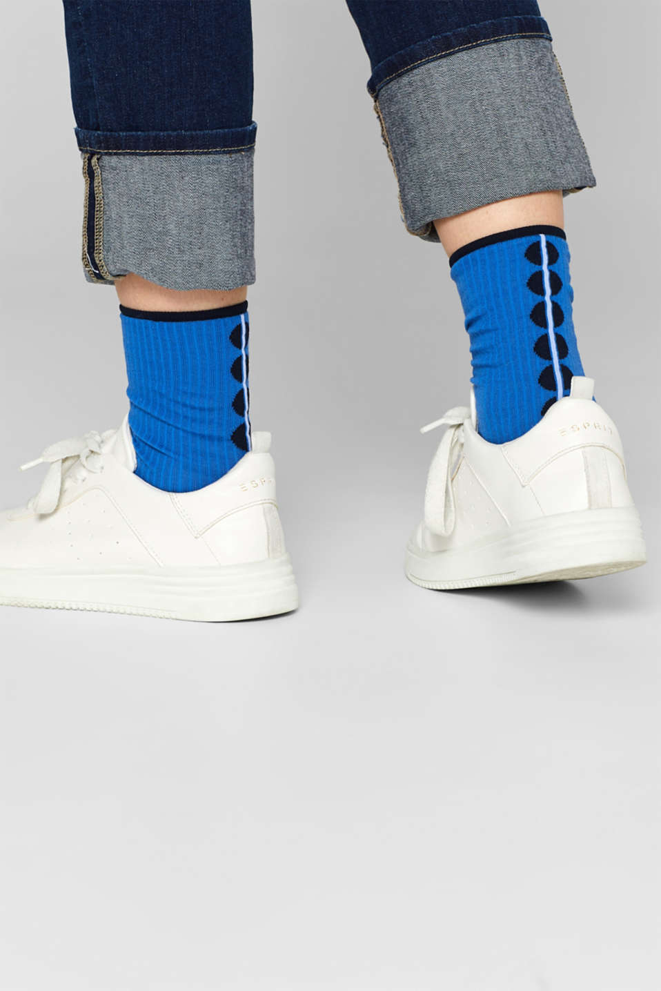Socks with polka dots, in blended cotton, SEA BLUE, detail image number 2