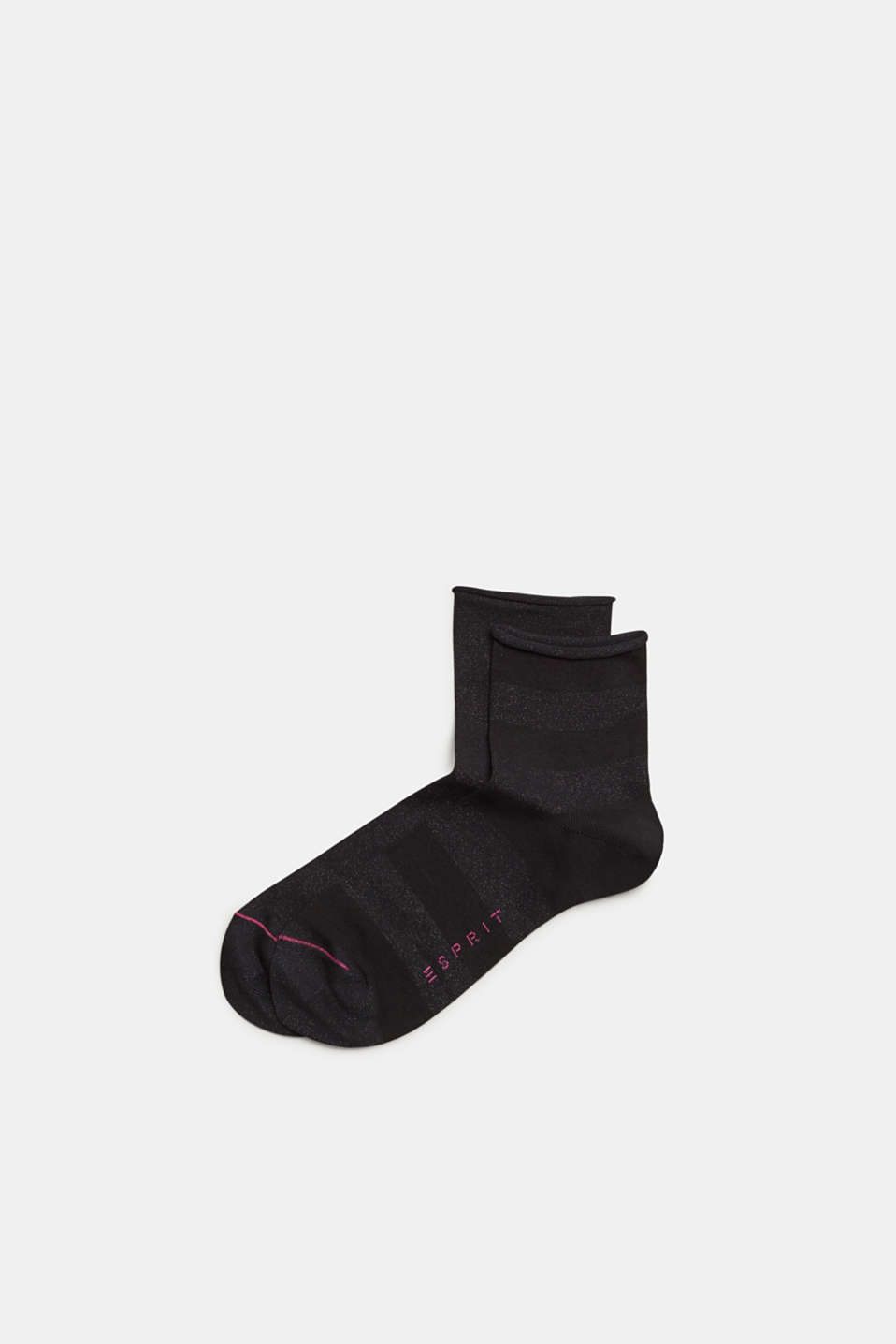 Double pack of socks with glitter and rolled edges, BLACK, detail image number 0