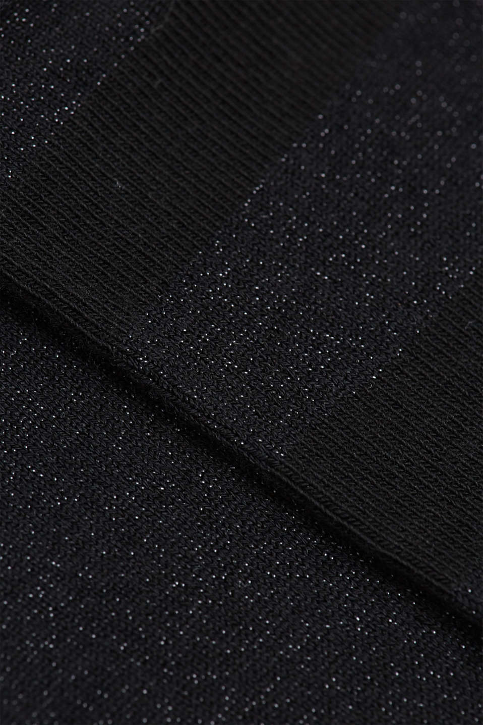 Double pack of socks with glitter and rolled edges, BLACK, detail image number 2