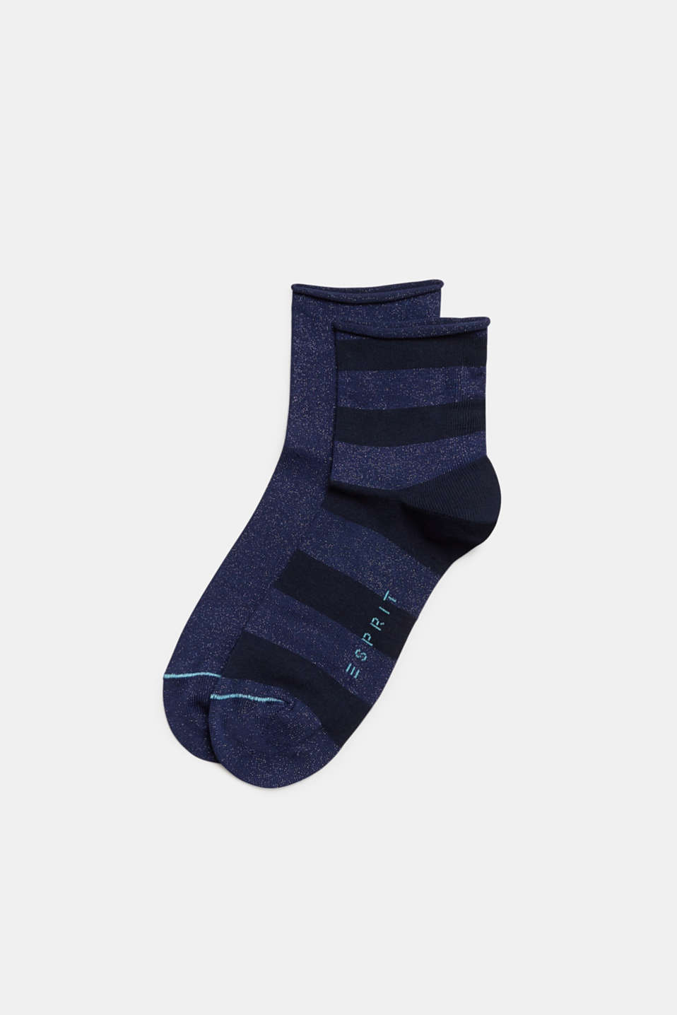 Double pack of socks with glitter and rolled edges, MARINE, detail image number 0