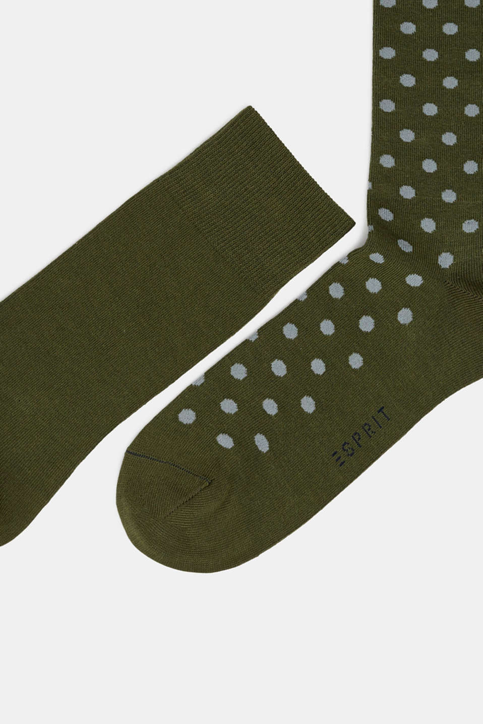 Double pack of socks with polka dots, DARK MOSS, detail image number 1