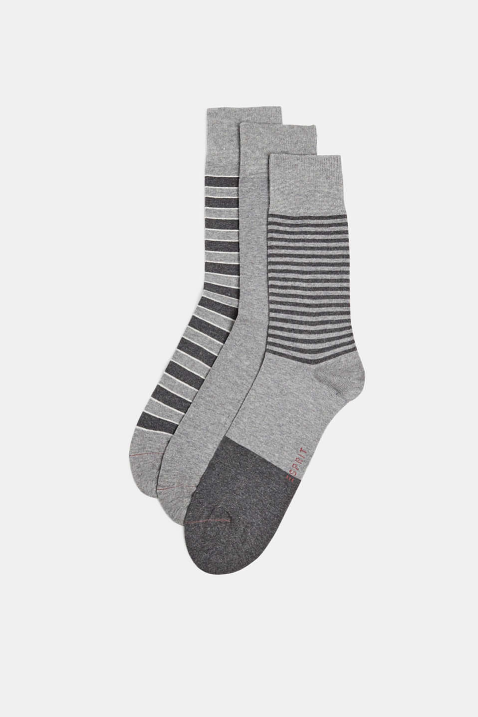 Socks in a triple pack, LIGHT GREY MELANGE, detail image number 0