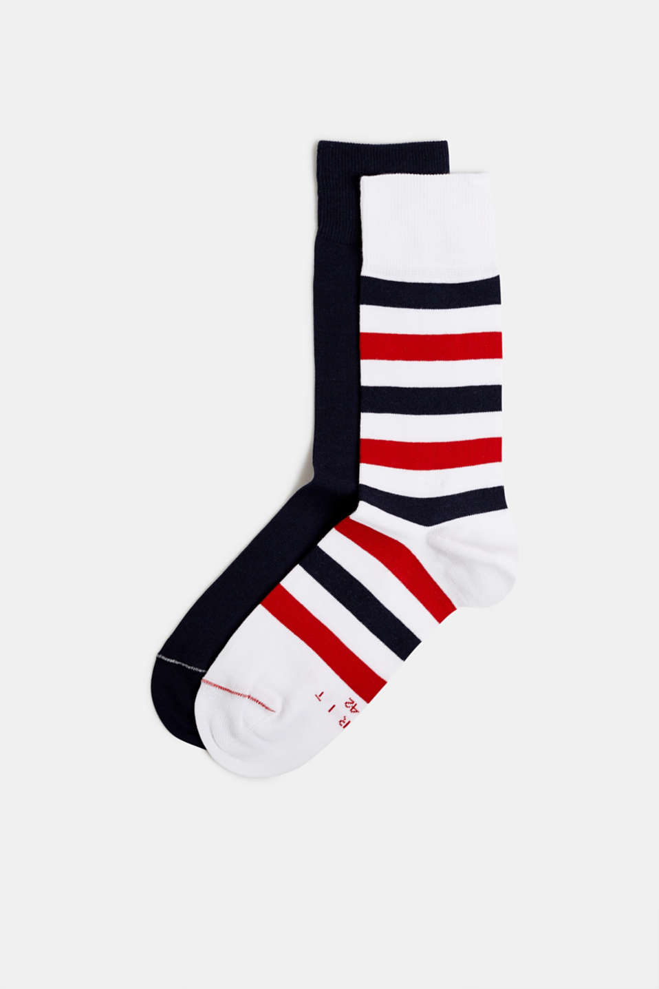 Esprit - In a double pack: plain and striped socks