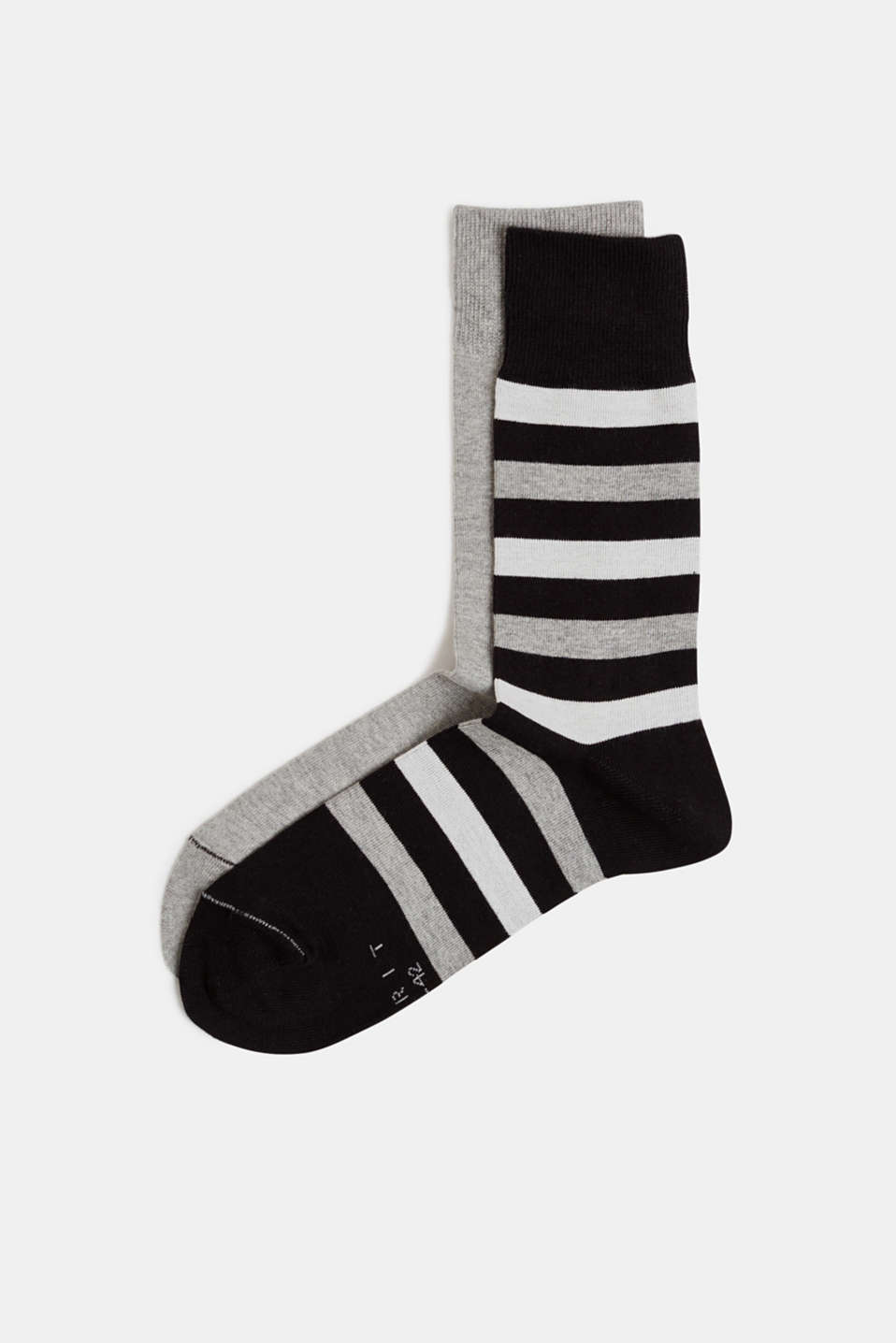 In a double pack: plain and striped socks, BLACK, detail image number 0