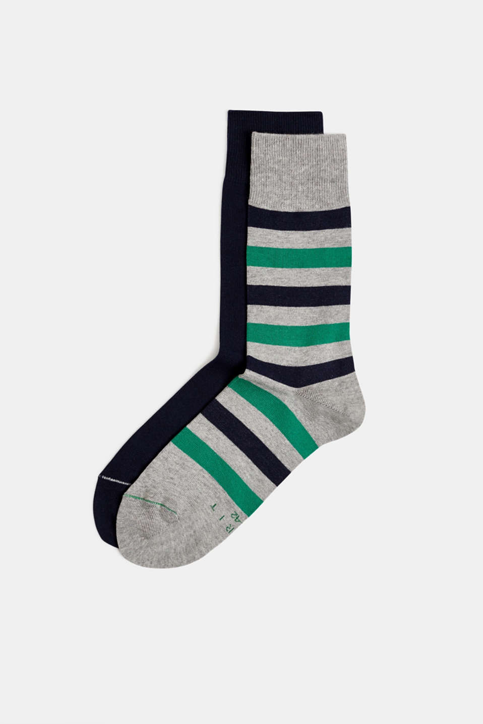 In a double pack: plain and striped socks, LIGHT GREY, detail image number 0