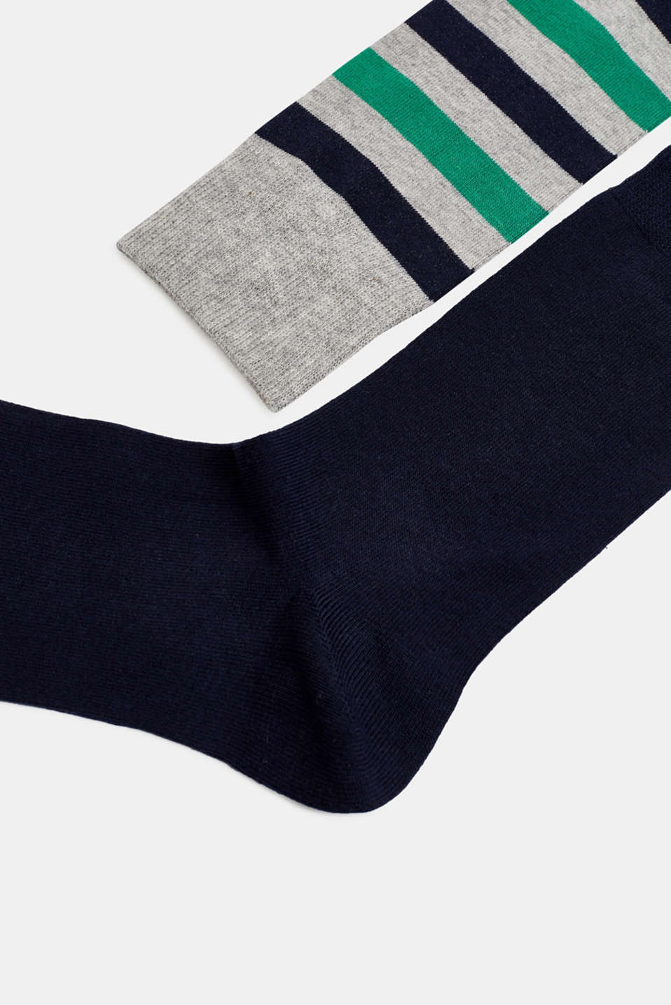 In a double pack: plain and striped socks, LIGHT GREY, detail image number 1