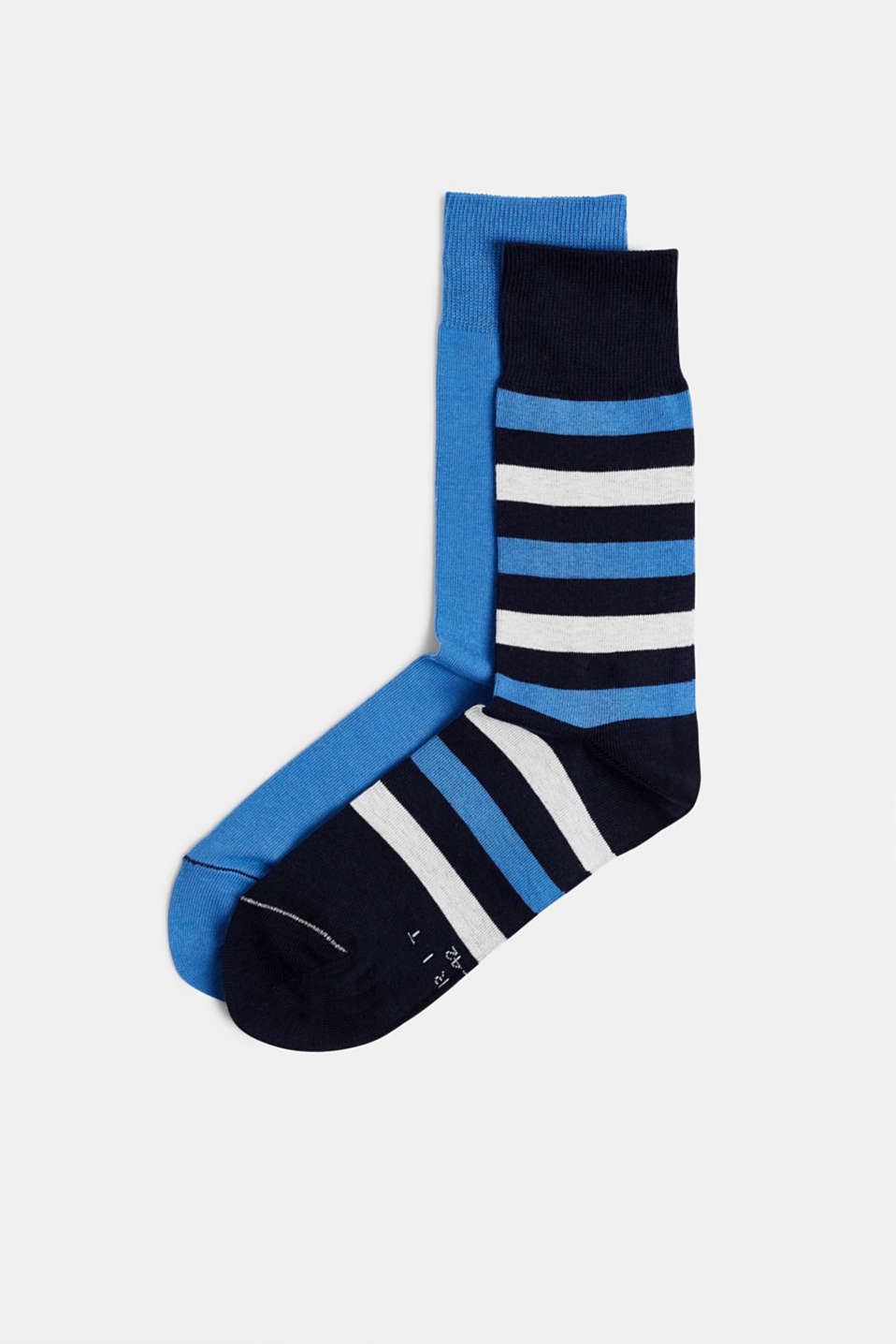 In a double pack: plain and striped socks, MARINE, detail image number 0