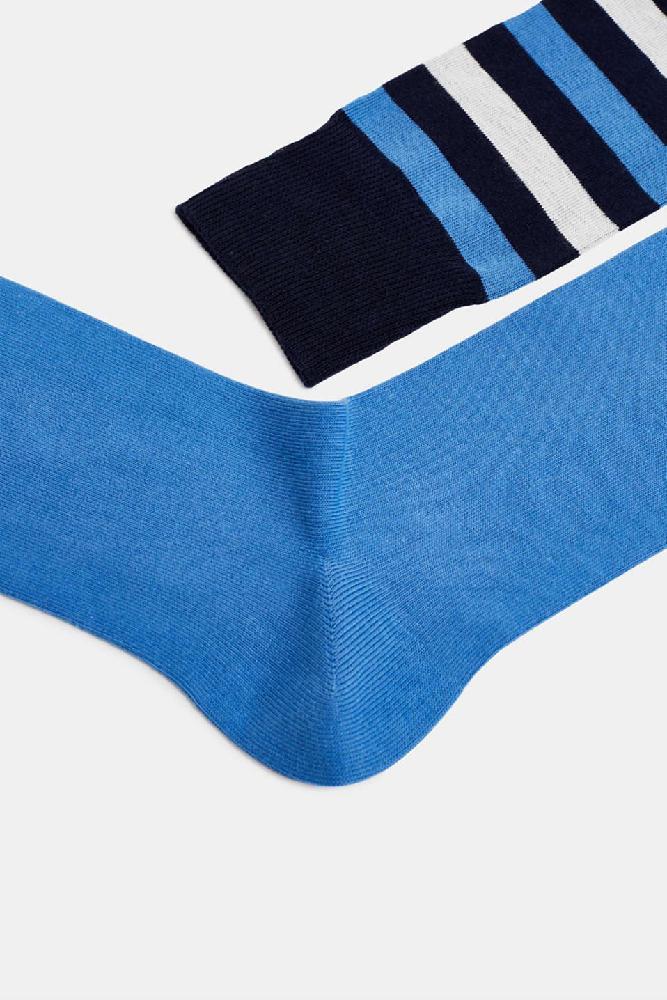 In a double pack: plain and striped socks, MARINE, detail image number 1