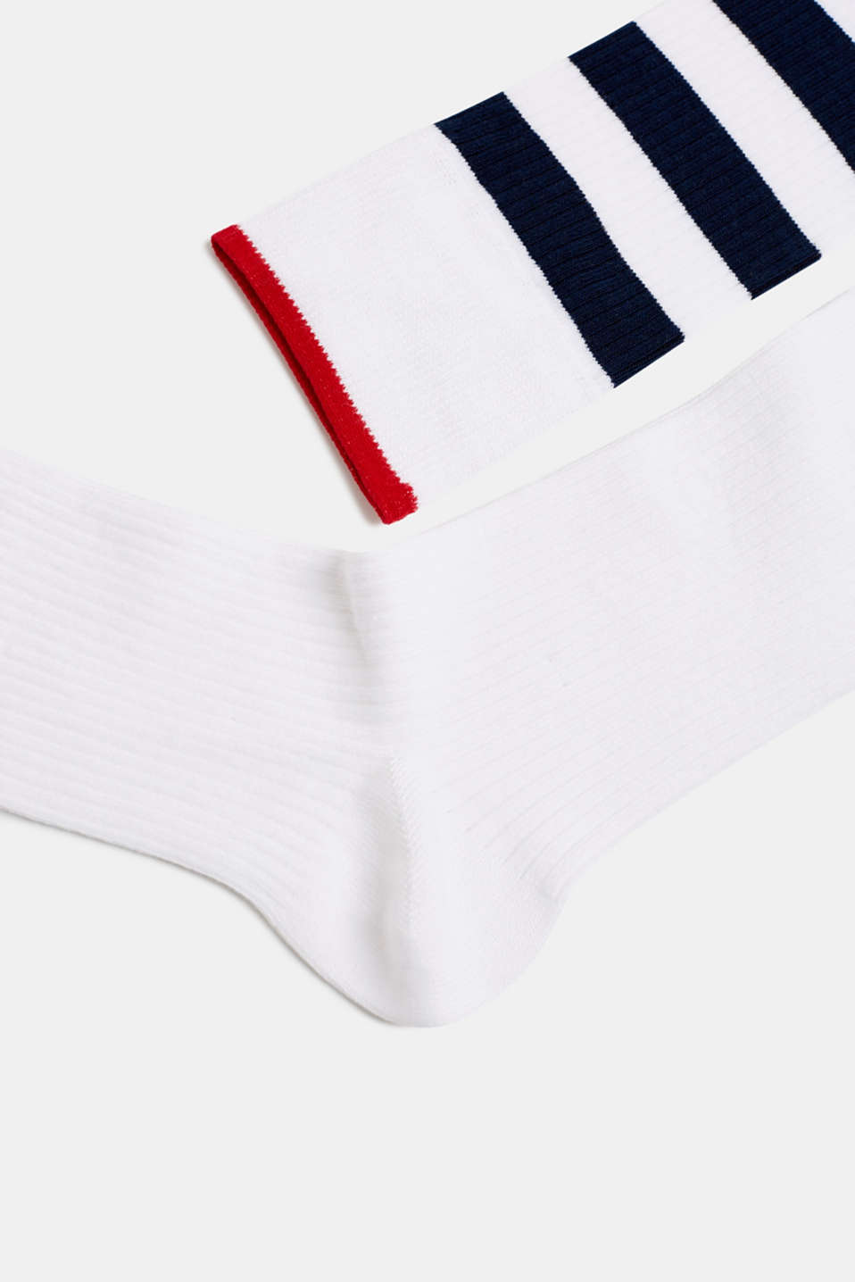 Double pack of socks with stripes, WHITE, detail image number 1