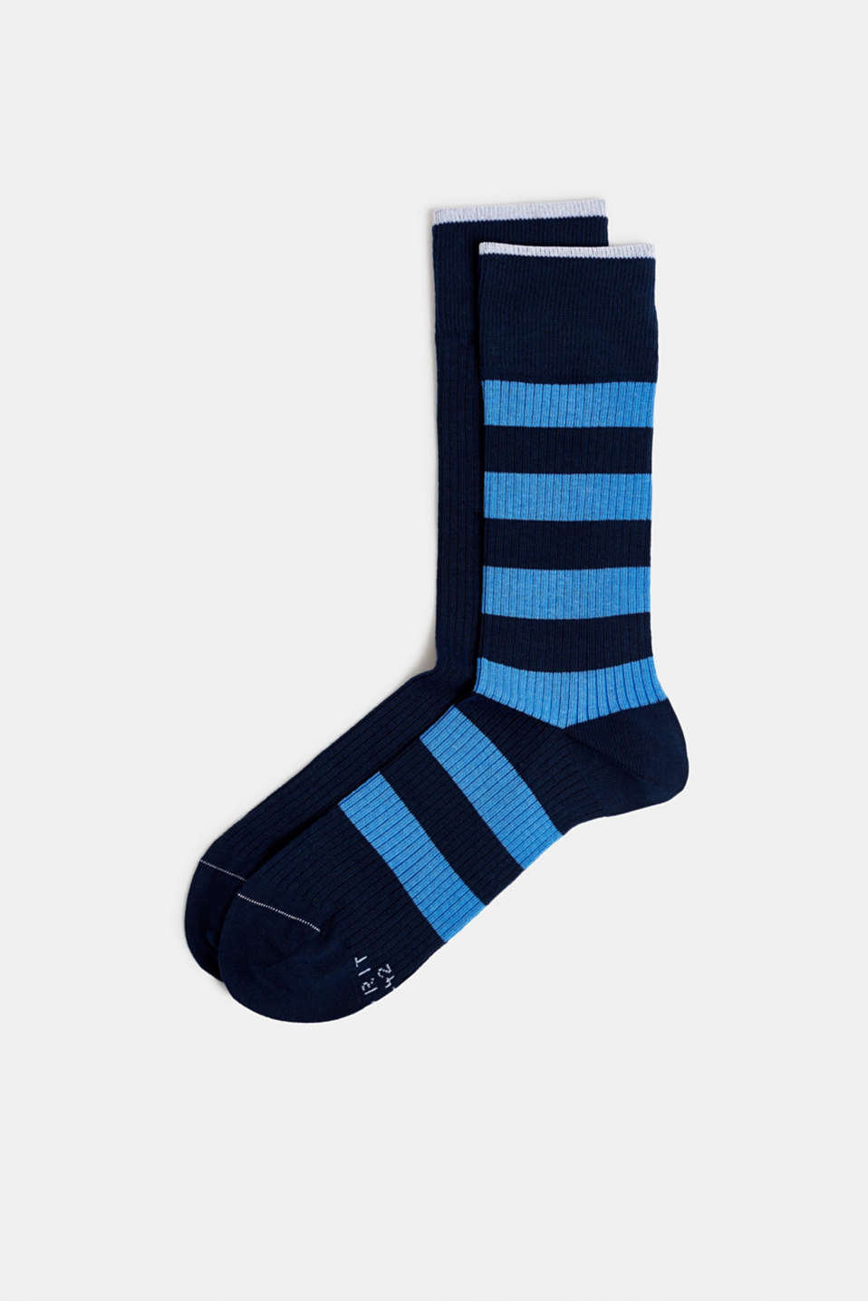 Double pack of socks with stripes, MARINE, detail image number 0