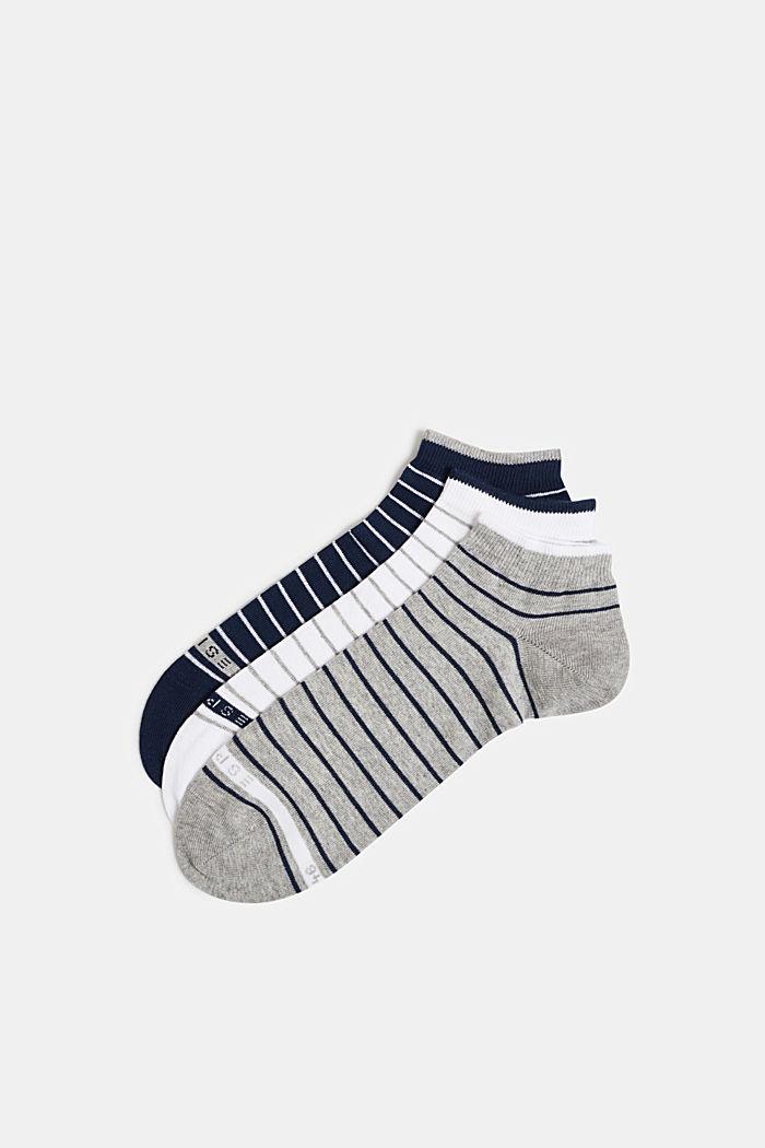 Triple pack: striped trainer socks, BLUE/WHITE/GREY, detail image number 0