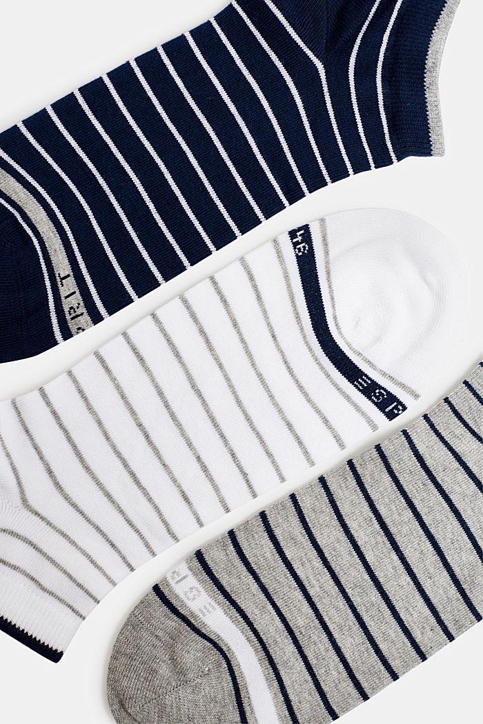 Triple pack: striped trainer socks, BLUE/WHITE/GREY, detail image number 1