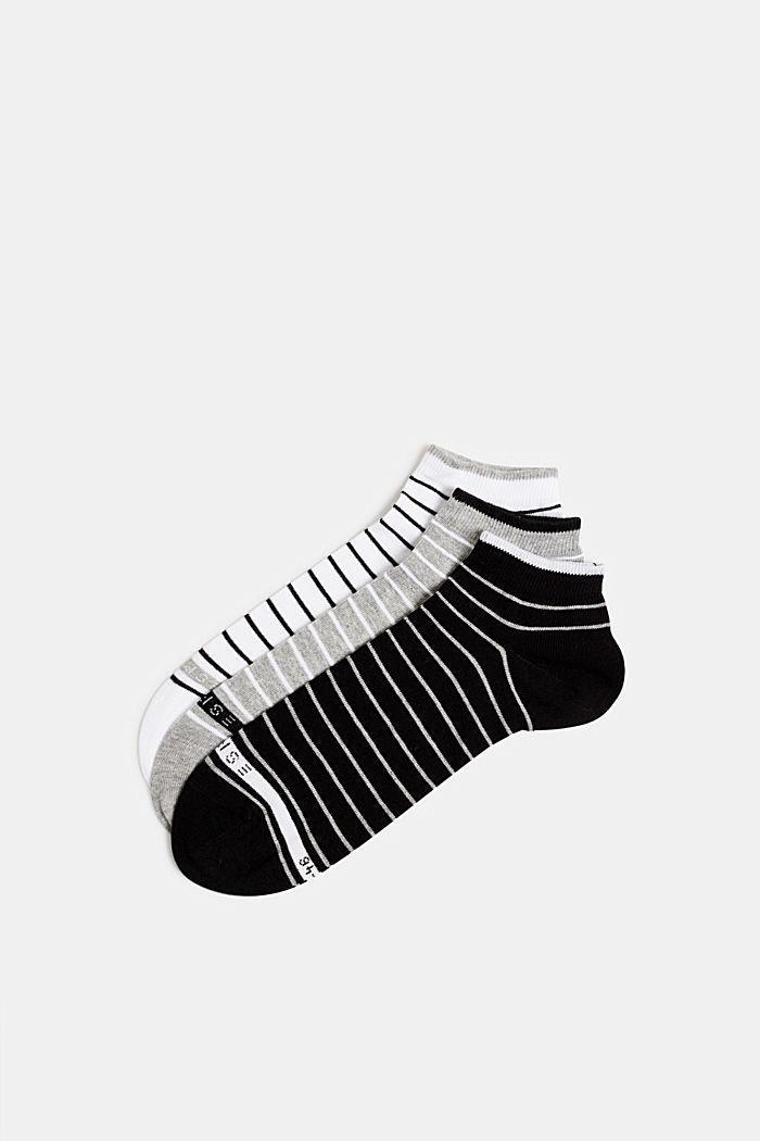 Triple pack: striped trainer socks, BLACK/WHITE, detail image number 0