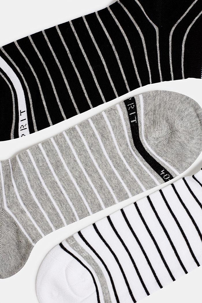 Triple pack: striped trainer socks, BLACK/WHITE, detail image number 1