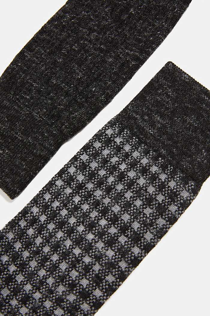 Wool blend with linen: Double pack of socks, BLACK, detail image number 2