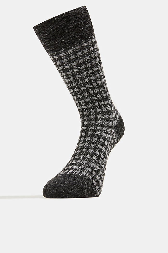 Wool blend with linen: Double pack of socks, BLACK, detail image number 1