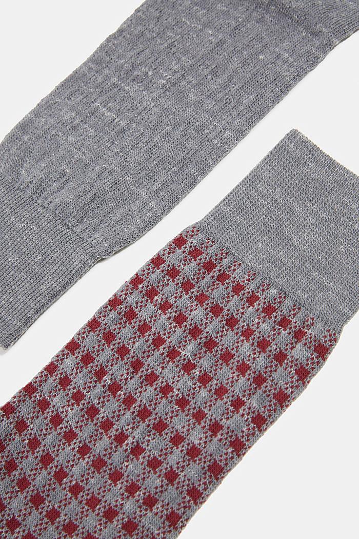 Wool blend with linen: Double pack of socks, LIGHT GREY MELANGE, detail image number 2