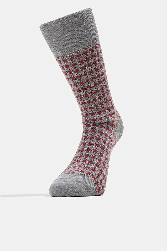 Wool blend with linen: Double pack of socks, LIGHT GREY MELANGE, detail image number 1
