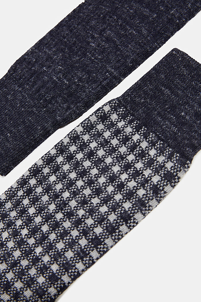 Wool blend with linen: Double pack of socks, MARINE, detail image number 2
