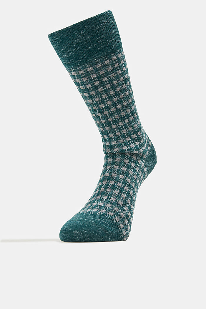 Wool blend with linen: Double pack of socks, DARK GREEN, detail image number 0